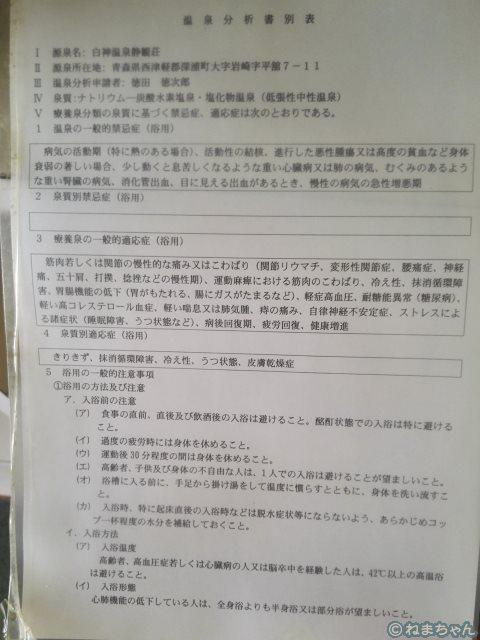 「静観荘」温泉分析書別表