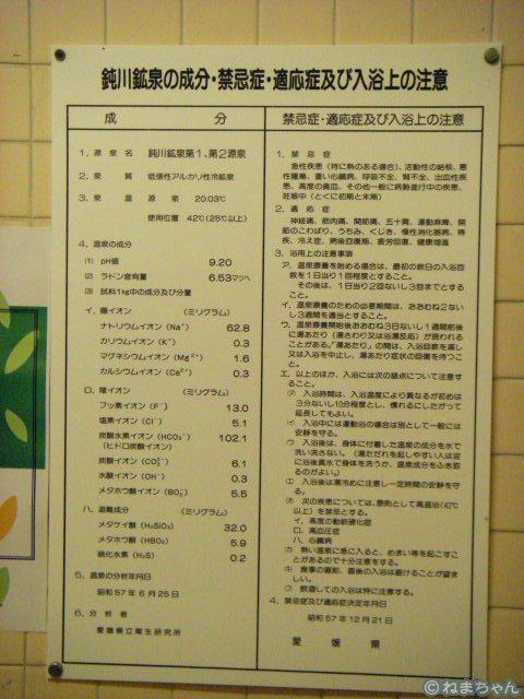 「鈍川温泉ホテル」温泉分析表