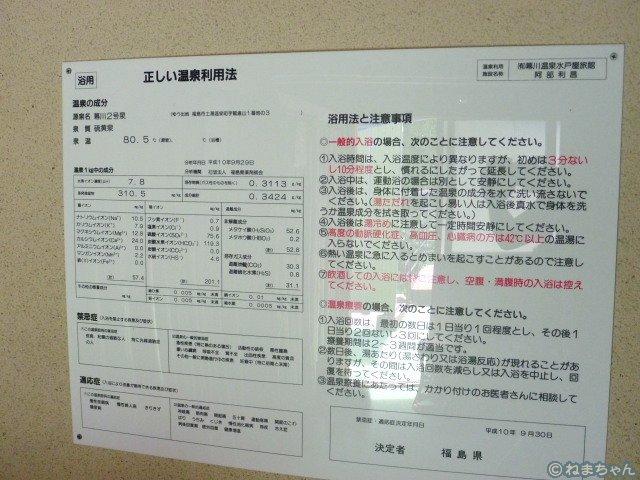 「水戸屋旅館」温泉分析表