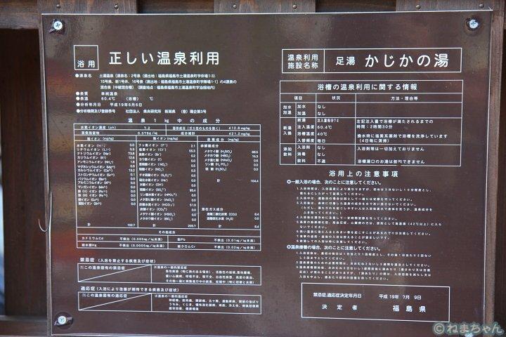 「かじかの湯」温泉分析表