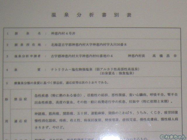 「リフレッシュプラザ温泉998」温泉分析表