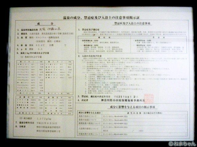 「伊藤山荘」温泉分析表