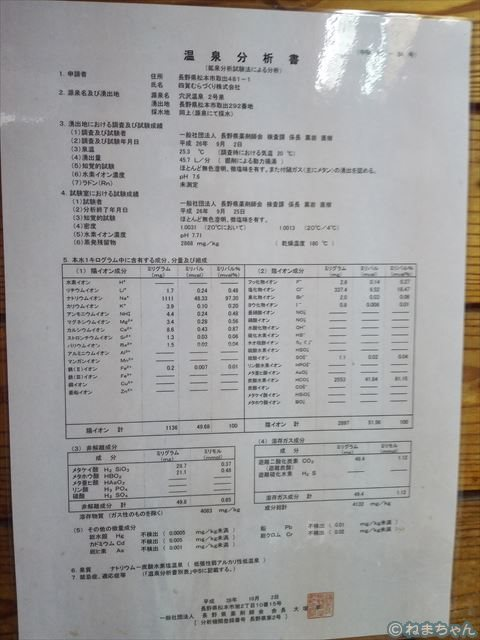 「松茸山荘」温泉分析書