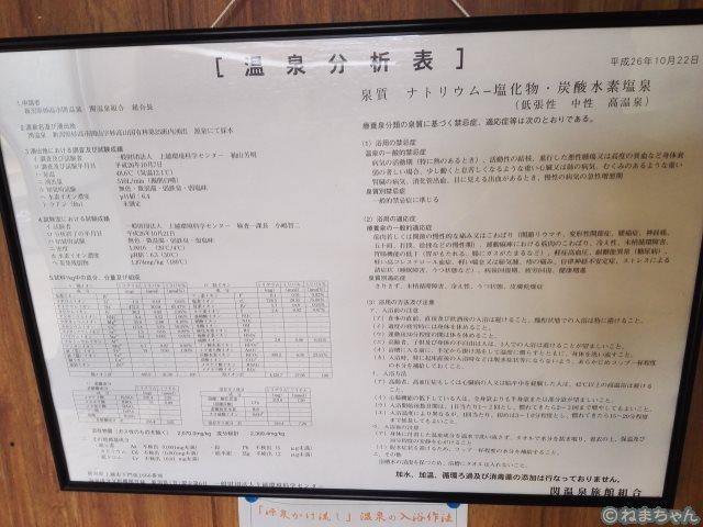 「中村屋」温泉分析書