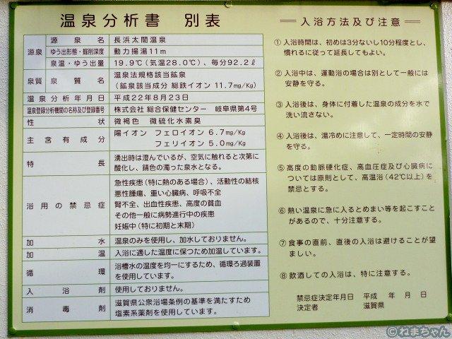 「長浜ロイヤルホテル」温泉分析表
