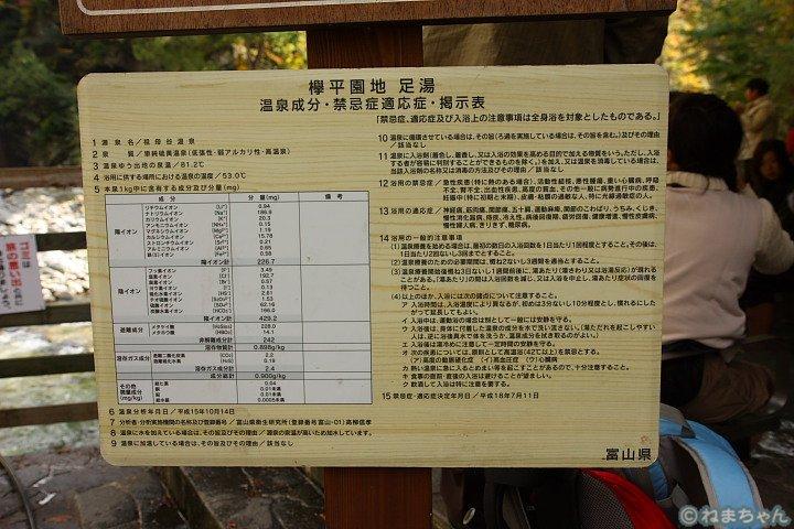 「欅平温泉足湯」温泉分析表